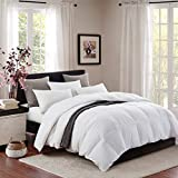 Topllen All Season Down Comforter - 100% Cotton Downproof Hypoallergenic Fabric - Quilted Fluffy Comforters with Corner Tabs (White)