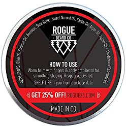 BEARD BALM SANDALWOOD by Rogue Beard Company, Leave In Conditioner with Natural Oils for Mustache Grooming and Beard Growing for Men 2 oz  Image 1
