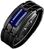 Binary Matrix Blue LED Digital Waterproof Watch Mens Classic Creative Fashion Black Plated Wrist Watches (Black Blue)
