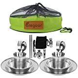 bisgear 20pcs Stainless Steel Tableware Mess Kit Includes Plate Bowl Cup Spoon Fork Knife Chopsticks Carabiner Wine Opener Dishcloth & Mesh Travel Bag for Camping Backpacking & Hiking (20pcs)