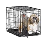 MidWest iCrate 24' Folding Metal Dog Crate w/ Divider Panel, Floor Protecting 'Roller' Feet & Leak-Proof Plastic Tray; 24L x 18W x 19H Inches, Small Dog Breed