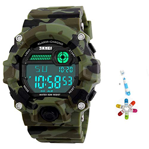 Man Boy Watch Kids Electronic Digital Sports Watch Camouflage Green Military Style Big Face Dial LED with Alarm Waterproof Watch Alarm Clock Stopwatch