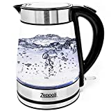 Zeppoli Electric Kettle - Glass Tea Kettle (1.7L) Fast Boiling and Cordless, Stainless Steel Finish Hot Water Kettle - Hot Water Dispenser - Glass Tea Kettle, Tea Pot Water Heater