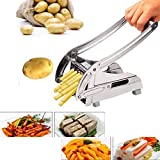 French Fry Cutter Stainless Steel Potato Chipper With Stable Suction Base and Two Size Interchangeable Blades (US Stock) (Potato Cutter)
