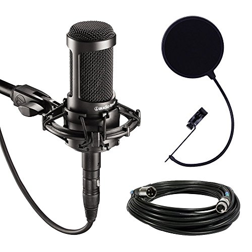 Audio-Technica AT2035 Large Diaphragm Studio Condenser Microphone Bundle with Shock Mount, Pop Filter, and XLR Cable