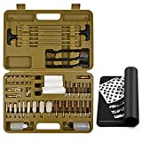 Universal Gun Cleaning Kit Supplies Solid Brass Jags Slotted Tips Bore Brush Mop Gun Cleaning Mat Rifles Shotgun Handgun Muzzle loader Pistol Firearm Cleaning use after Hunting Shooting All Caliber