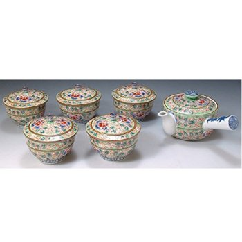 Kiyomizu-kyo yaki ware. Set of Japanese yunomi teacup and kyusu teapot hiwakaun with wooden box. Porcelain. kymz-JRH042