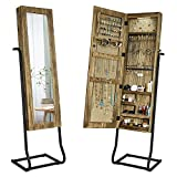 SRIWATANA Jewelry Armoire Cabinet, Solid Wood Standing Jewelry Organizer with Full Length Mirror (Carbonized Black)