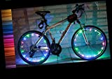 YYGIFT Waterproof 20 LED Bicycle Wheel Light String Safety Cool Bike Wheel Light for Night Safe Cycling - Working with 3AA Batteries - Multi-Color