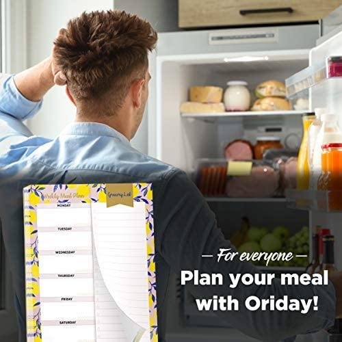 """Oriday Weekly Magnetic Meal Planner Notepad with Tear Off Perforated Grocery Shopping List Checklist for Fridge Door, Kitchen - 52 Sheets, 6"""" X 9"""" - Perfect for Weekly Diet Prep (Menu Planning Pad) 4"""