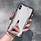 Cfrau Mirror Case with Black Stylus for iPhone 6s Plus,Luxury 3D Handmade Glitter Sparkle Crystal Rhinestone Diamond Black Bumper Protective Case Compatible with iPhone 6 Plus/6S Plus 5.5 inch