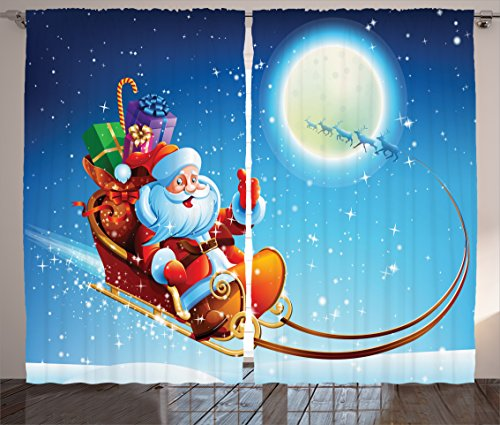 Ambesonne Christmas Decorations Collection, Santa Claus on Dreamy Magical Starry Sky Full Moon Father Christmas Cartoon Picture, Living Room Bedroom Curtain 2 Panels Set, 108 X 84 Inches, Multi