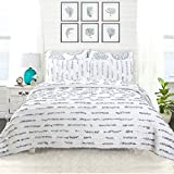 DriftAway 3 Piece Ruffle Stripe Reversible Quilt Set Bedspread Coverlet Hand Crafted Ruffle Stripes Prewashed Blue King
