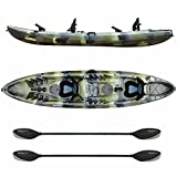 Elkton Outdoors Tandem Fishing Kayak, 12.2 Foot Sit On Top Fishing Kayak with EVA Padded Seats, Includes Aluminum Paddles, Rod Holders and Dry Storage Compartments