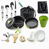 Camping Cookware Mess Kit Backpacking Gear & Hiking Outdoors Bug Out Bag Cooking Equipment 18 Piece Cookset (Green) …