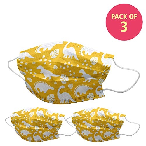 Bon Organik Women's Cotton Dinosaur Printed Wraps Protective Mask for Kids (Yellow) -Set of 3 TODAY OFFER ON AMAZON