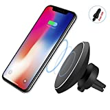 Magnetic Car Wireless Charger, Qi Wireless Car Charger Mount 2-in-1 Air Vent Vehicle Holder for iPhone X 8 Plus Samsung Galaxy Note 8 S8 Plus S7 S6 Edge Note 5 and Other Qi Enabled Devices