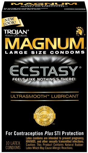 Trojan Condom Magnum Ecstasy Ultrasmooth Lubricated 10Pc