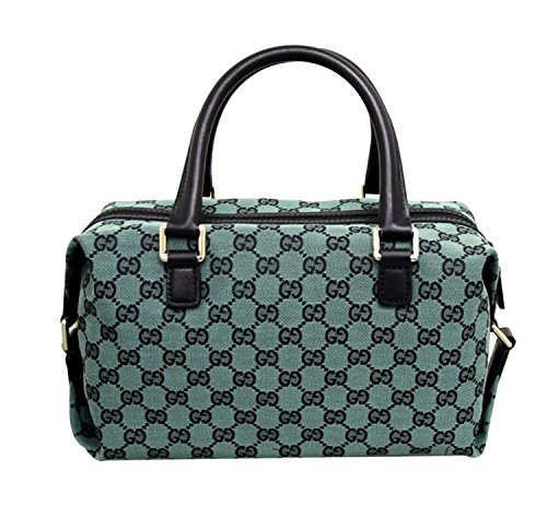 """51nsiftDGQL Exquisite Gucci Joy Boston Bag. Made of Signature GG Monogram Canvas Leather Handles and Trim; Gold Hardware; Top Zip Closure; Metal Protector Feet Measures approximately: 11.5"""" L x 7"""" H x 5.5"""" W"""