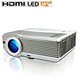 EUG Portable LED LCD Projector 4200 Lumen Home Cinema Theater Projector Wuxga Digital HD Support 1080p for PC Laptop iPad Smartphone Movie Video Game Presentation with HDMI USB Keystone Speaker Remote