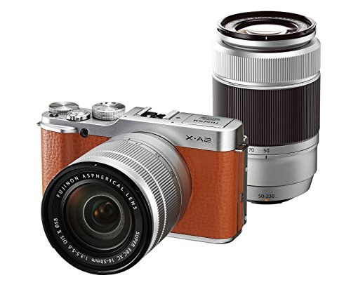 Fujifilm X-A2 Mirrorless Digital Camera with 16-50mm II + 50-230mm II Twin Zoom Lens Kit (Brown) - International Version