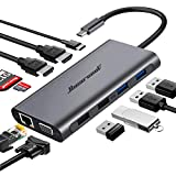 Hiearcool USB C Hub,USB-C Laptop Docking Station,11 in 1 Triple Display Type C Adapter Compatiable for MacBook and Windows(2HDMI VGA PD3.0 SD TF Card Reader Gigabit Ethernet 4USB Ports)