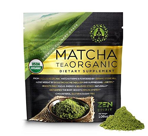 Matcha Green Tea Powder Organic ( Japanese Premium Culinary Grade ) - USDA & Vegan Certified - 30g (1.06 oz) - Perfect for Baking, Smoothies, Latte, Iced Tea, Herbal Teas. Gluten & Sugar Free