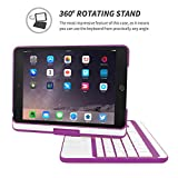 iPad Mini 1 / 2 / 3 360 Rotatable Keyboard Case, Snugg - Ultra Slim Keyboard Cover Case with Bluetooth Connectivity (Purple) For Apple iPad Mini 1 / 2 / 3 Retina