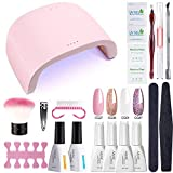 AZUREBEAUTY Gel Nail Polish Starter Kit with 48W UV/LED Lamp (3 Timer Setting),Base and Top Coat, Manicure Tools + Pink Glitter 4 Colors Gel Polish(12ml)