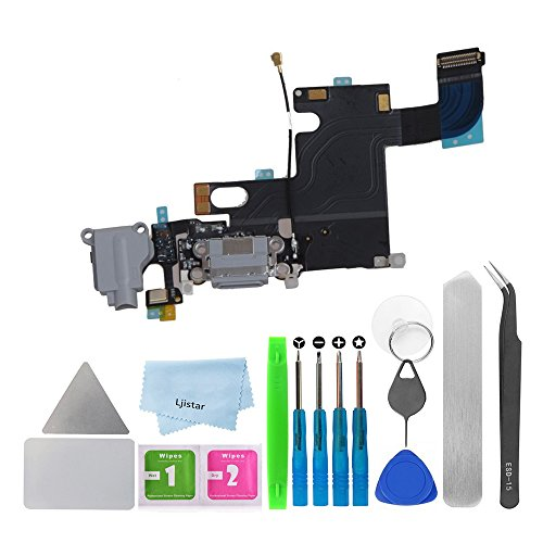 Replacement Charger Charging Port USB Connector Dock Microphone Headphone Audio Jack Ribbon Flex Cable + Repair Tools for iPhone 6 4.7 (Gray)