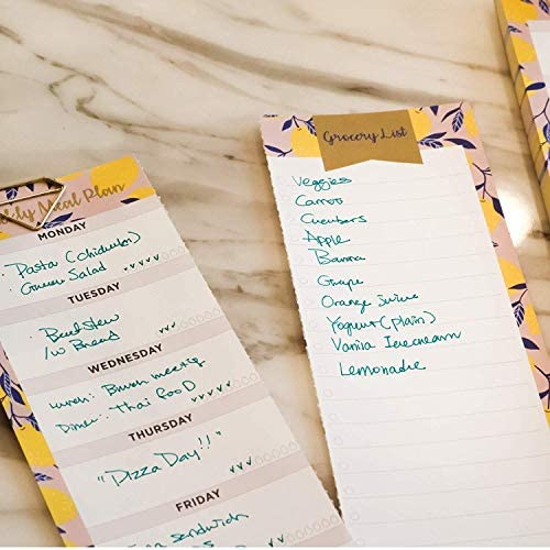 """Oriday Weekly Magnetic Meal Planner Notepad with Tear Off Perforated Grocery Shopping List Checklist for Fridge Door, Kitchen - 52 Sheets, 6"""" X 9"""" - Perfect for Weekly Diet Prep (Menu Planning Pad) 11"""
