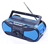 Hurricane Radio Weather Radio,Waterproof, Hand Crank, Solar/Battery Powered, 4000mAh AM/FM/NOAA/SOS Alert,Portable Emergency Cellphone Charger,Music Speaker,Flashlight& Reading Lamp,Blue,Greeous