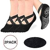 yoga socks,pilates socks non slip women - Rendvieet Slip Grips & Straps Ideal for Pure Barre, Ballet, Dance, Barefoot Workout (black)