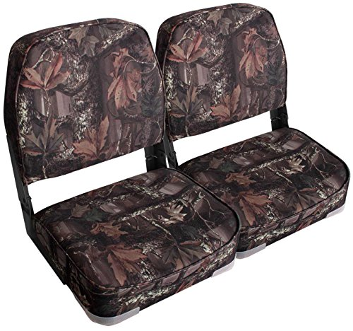 Leader Accessories A Pair of New Low Back Folding Boat Seats(2 seats) (Camo/Black hinge)