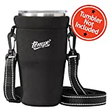 Tumbler Carrier Holder Pouch For All 30oz. Stainless Steel Travel Insulated Coffee Mugs, Neoprene Black Sleeve Accessories, Light Hand Free Bag, Protective, Washable, Adjustable Strap, Shoulder Sling