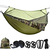 Hieha Double Camping Hammock with Mosquito Net Tree Hammocks,Portable Travel Hiking Camping Hammocks for 2 Adults,Outdoor Backyard Backpacking Camping Hammock with Tree Straps 118'(L) x 78'(W)