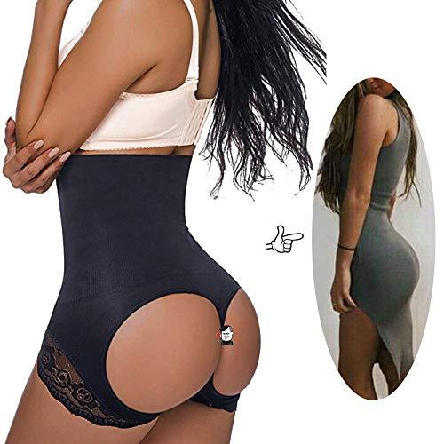Jason&Helen Women's Butt Lifter Shaper Seamless Tummy Control Hi-Waist Thigh Slimmer Black XL/2XL