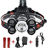 FightingGirl Waterproof 12000 Lumen 5 Led Headlamp XML T6+4Q5 Head Lamp Powerful Led Headlight, Rechargeable Flashlight Head Lights for Camping, Hiking