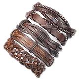 Lishfun Charm 5pcs Brown wrap Real Leather Bracelet Men 2019 Friendship Bracelets Bangles for Women pulseira Masculina Mujer bracciale,Split