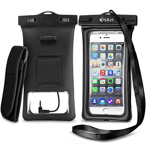 3iArt WPBAG01 Floating Waterproof Case Dry Bag with Armband & Audio Jack for iPhone 6, 6 Plus, 6s, 6s Plus, 5s, Samsung Galaxy s6, TPU Construction Pouch & IPX8 Certified - Black