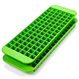 Mini Ice Cube Trays - 2 Pack - 90 Square Shaped Molds - BPA Free, Food-Grade Material – Dishwasher Safe – Stackable & Odor Free – Does Not Crack While Freezing – Green
