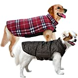 MIGOHI Dog Jackets for Winter Windproof Waterproof Reversible Dog Coat for Cold Weather British Style Plaid Warm Dog Vest for Small Medium Large Dogs, Large