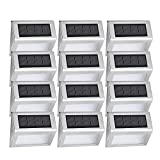 [12 Pack] Solar Step Deck Lights, Easternstar 4 LED Solar Powered Stainless Steel Weatherproof Outdoor Lighting for Wall Stair Path Patio Fence Dock Landscape
