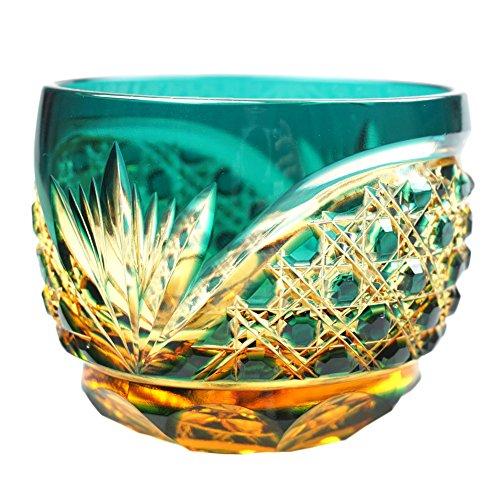 Crystal Sake Cup Edo Kiriko Guinomi Cut Glass Octagon Hakkaku-Kagome Pattern - Green x Amber [Japanese Crafts Sakura]