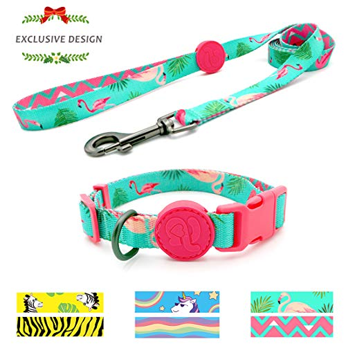 azuza Puppy Collar and Leash Set, Adjustable Dog Collar with Matching Leash for...