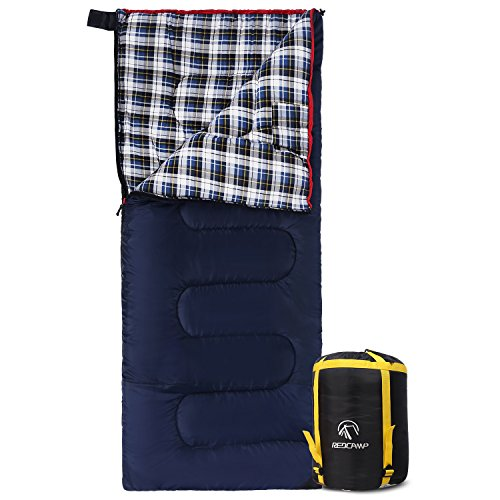 REDCAMP Cotton Flannel Sleeping bag for Camping, 50F/10C 3-season Warm and Comfortable, Envelope Blue 3lbs(75'x33')