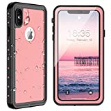 SPIDERCASE iPhone Xs Max Waterproof Case 6.5 inch 2018, Dustproof Snowproof Shockproof IP68 Certified, iPhone Xs Max Case with Built-in Protector Full Body Rugged Cover for iPhone Xs Max (Pink)