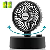 OPOLAR Mini Oscillating Desk Fan with 5200 mAh Capacity, USB Powered & Personal & Tabletop, Stepless Speed Regulation, Whisper Quiet, Strong Wind, for Office Home Use, Black