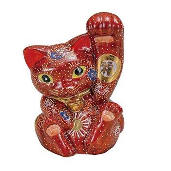 Jpanese traditional ceramic Kutani ware. Lucky charm ornament. Beckoning cat. Mori. With paper box. ktn-K5-1558