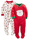 Simple Joys by Carter's Baby Toddler 2-Pack Holiday Loose Fit Flame Resistant Fleece Footed Pajamas, Ivory Santa/Red Santa, 5T
